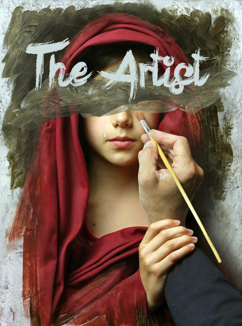 Runaway Planin pakohuoneen teemakuva. Taiteilija maalaa tauluun naista, joka ottaa häntä kädestä kiinni.